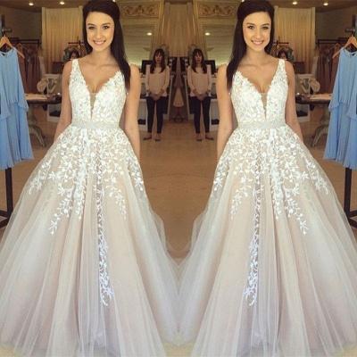 Precioso vestido de noche con cuello en V sin mangas apliques de encaje de tul en línea BA3252_3
