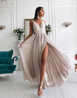 Chiffon sexy en mousseline de soie robes sexy de fente pas cher | Dentelle appliques robe de soirée longue populaire_1