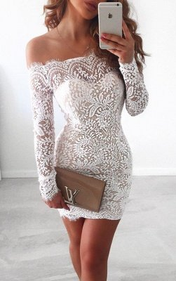 Simple White Long-Sleeve Mermaid Short Cocktail Party Dresses_3