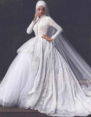 Elegant High Neck Wedding Dresses | Lace Long Sleeves Muslim Bridal Gowns