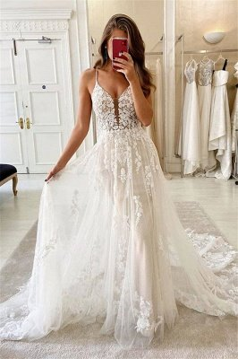 V-Neck Spaghetti Tulle Lace Applique A-line Bridal Wedding Dress