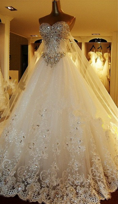 Gorgeous Bridal Dresses Sweetheart Appliques Crystal Beading  Elegant A Line  Wedding Gowns_1