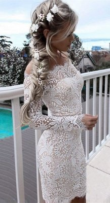 Simple White Long-Sleeve Mermaid Short Cocktail Party Dresses_4