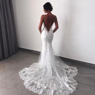 Backless Wedding Dresses Lace Mermaid   Sexy Spaghetti Straps Bride Dress Cheap_5