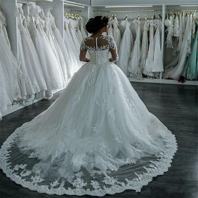 Sheer Lace Long-Sleeves Beaded Ball-Gown Wedding Dresses_4