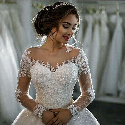 Sheer Lace Long-Sleeves Beaded Ball-Gown Wedding Dresses_3