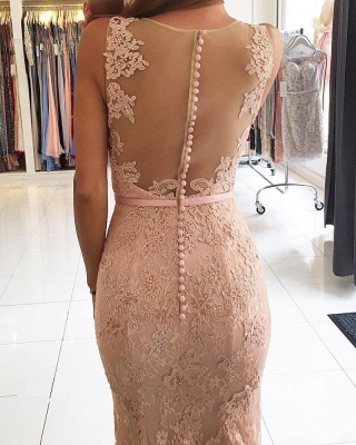 Mermaid Pink Lace Long Evening Dresses | Sleeveless Sheer Tulle Cheap Prom Dresses_2