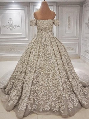 Luxury Off-the-shoulder Lace appliques 3-d flowers Wedding Dress