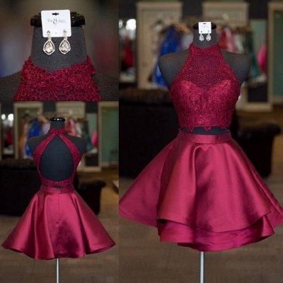 Robes de soirée mignonnes deux pièces | Robes de hoco bleu licol_2