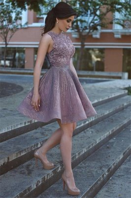 Lace Appliques Open Back Sexy Homecoming Dresses Short Hoco Dresses Online_5
