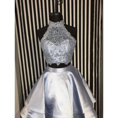 Robes de soirée mignonnes deux pièces | Robes de hoco bleu licol_4