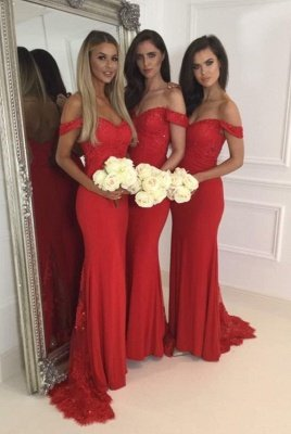 Красное длинное кружевное платье для подружек невесты с молнией сзади_1
