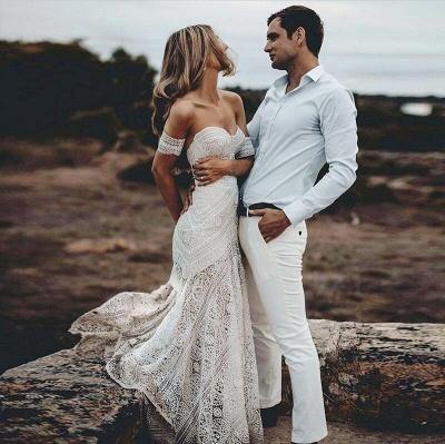 Elegnat Ivory Strapless Mermaid Lace Beach Wedding Dress Online with Lace Bracelet_3