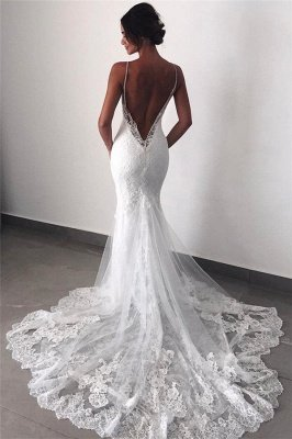 Backless Wedding Dresses Lace Mermaid | Sexy Spaghetti Straps Bride Dress_1