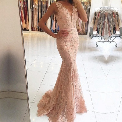 Mermaid Pink Lace Long Evening Dresses | Sleeveless Sheer Tulle Cheap Prom Dresses_3