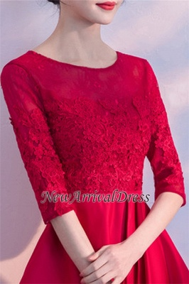 Lace A-Line Zipper Red Half-Sleeves Homecoming Dress_1