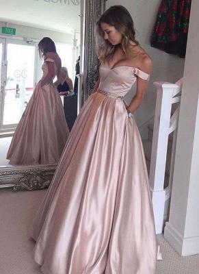 Bolsillos abalorios abotonados fuera de los hombros abalorios con cuentas Vestidos de baile_1