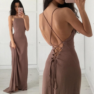 Sexy Open Back Party Dresses Spaghetti Straps Lace Up Summer Evening Gown BA3934_3