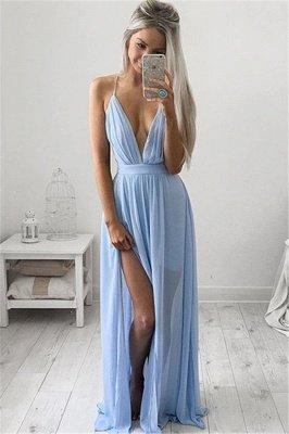 Deep V-neck Sexy Evening Dress Spaghetti Straps baby Blue Prom Dresses CE054_1