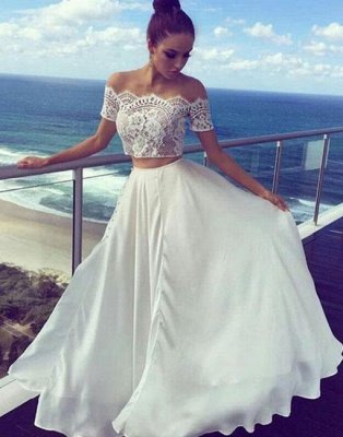 White Two Piece Prom Dresses | Off The Shoulder Lace Long Evening Dress_1