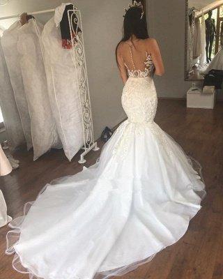 Gorgeous Lace Mermaid Sleeveless Buttons Long Wedding Dress_2