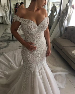 Elegant Off-the-shoulder Sweetheart Pearl Mermaid Chapel Train Wedding Dress_5