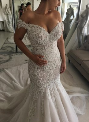 Elegant Off-the-shoulder Sweetheart Pearl Mermaid Chapel Train Wedding Dress_1