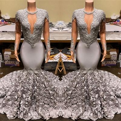 Silber Mermaid Flowers Günstige Ballkleider 2019   Sexy Lace Appliques Real Prom Dress auf Schaufensterpuppen_3