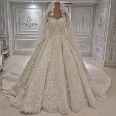 Costoso encaje 3-D flores mangas largas vestido de novia vestido de bola_2