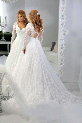 Latest Long Sleeve Empire Lace Bridal Dress A-Line Halter Empire Plus Size Wedding Gowns_3