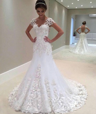 Gorgeous Mermaid Lace Long Wedding Dress_1