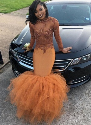 Modest Lace Appliques Mermaid Long Sleeve   Prom Dress BA8084 BK0_3