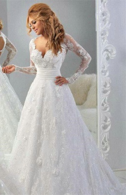 Latest Long Sleeve Empire Lace Bridal Dress A-Line Halter Empire Plus Size Wedding Gowns_1