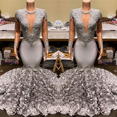 Silver Fit and Flare Floral Cheap Prom Dresses | Wholesale Lace Appliques Real Shooting Prom Dress_3