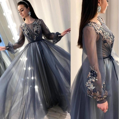 Trendy A-Line Tulle Evening Dresses | Long Sleeves Applqiues Affordable Prom Dresses_5