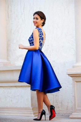 New Arrival V-Neck Royal Blue Short Homecoming Dress Sleeveless Lace Cocktail Gowns_5
