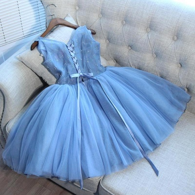 Gorgeous Blue Short Homecoming Dresses  V-Neck Lace-Up Hoco Dresses_3