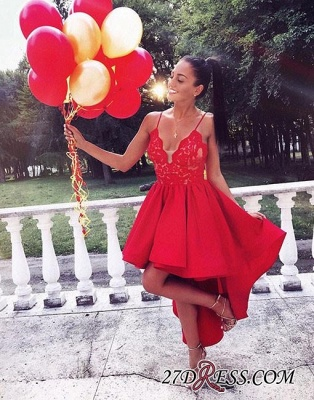 Cute Red High-low A-line Lace V-neck Homecoming Dress BA6902_1