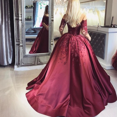 Burgundy Off-the-Shoulder Long-Sleeves Crystal Appliques Ball Prom Dresses_3