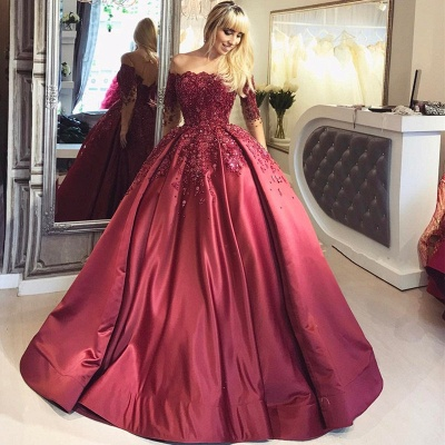 Burgundy Off-the-Shoulder Long-Sleeves Crystal Appliques Ball Prom Dresses_4