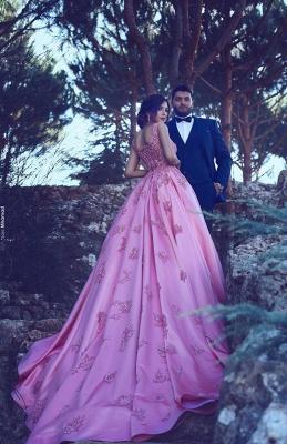 Rosa Abschlussballkleider Satin Mit Perlen Lange Abendkleider Günstig Abendmoden_1