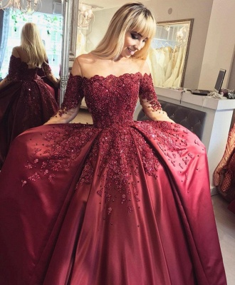 Burgundy Off-the-Shoulder Long-Sleeves Crystal Appliques Ball Prom Dresses_2