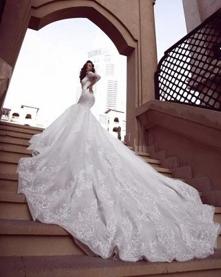 Cap sleeves Mermaid Long Train White Wedding Dresses Online_2