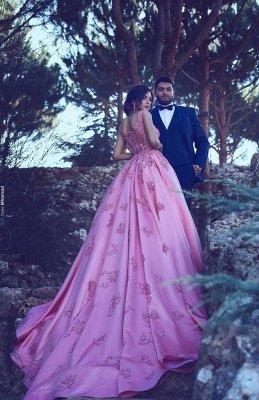 Robes de soirée rose bonbon sans manches pas cher en ligne | Bretelles Appliques Sexy Robes De Bal