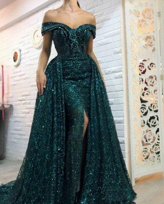 Vert foncé hors l'épaule paillettes robes de soirée longues | Robes de bal de gaine fendues overskirt bal 2021_3