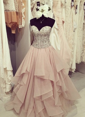 Gorgeous Sweetheart Beadings Ruffles Floor-Length Prom Dress
