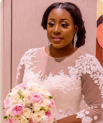 Half-Sleeve Scoop Mermaid Lace Appliques Sheer Tulle New Wedding Dresses_4