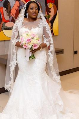 Half-Sleeve Scoop Mermaid Lace Appliques Sheer Tulle New Wedding Dresses_3