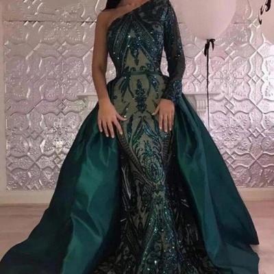 Robes de soirée paillettes glamour une épaule avec manches | Robe de bal de sirène vert foncé avec jupe oversize BA7441_3