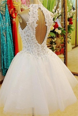 A-Line Halter White Mini Wedding Dress New Arrival Lace Flower Short Tulle Bridal Gowns BA7308_2